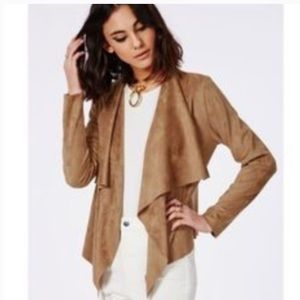 Katherine Barclay Faux Suede Open Waterfall Cardi